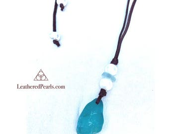 Mermaid Tear Necklace (Sea Glass and Freshwater Pearls)