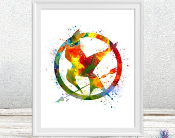 The Hunger Games Watercolor - Mockingjay - The Hunger games - colorful art