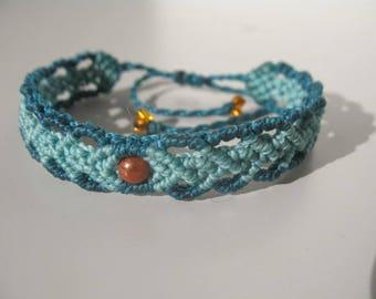 Blue macrame bracelet. Handmade jewelry. Friendship bracelet. Hippie. Boho. Tribal.