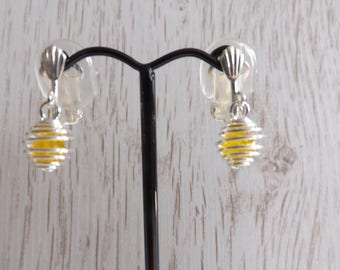 Clip-on caged yellow bead earrings, small clipon earrings, clip on Easter earrings, Clip-on yellow earrings, unpierced earrings, non-pierced