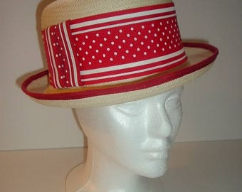 Vintage Street Smart by Betmar Straw Hat Red and White Band