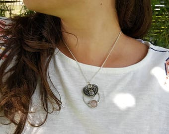 scarab necklace with rose quartz cabochon / silver plated chain /