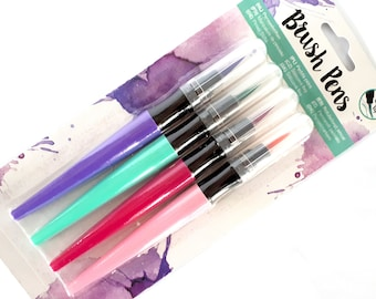 Cute soft tip brush pens - 4 pieces per set - purple, mint, pink & magenta | brush markers - hand lettering