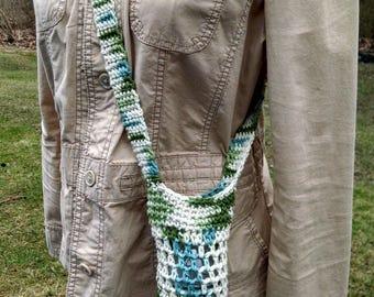 crochet cotton over the shoulder water bottle bag, cell phone purse, knit beverage cozy, drink sack, baby bottle holder, hikers bottle bag