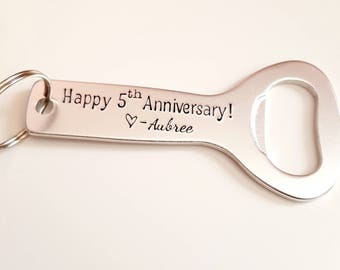 Bottle Opener Keychain, Personalizable Bottle Opener, Gifts for Husband, Anniversary Gifts for Him, Boyfriend Gift, 1 Year Anniversary Gift