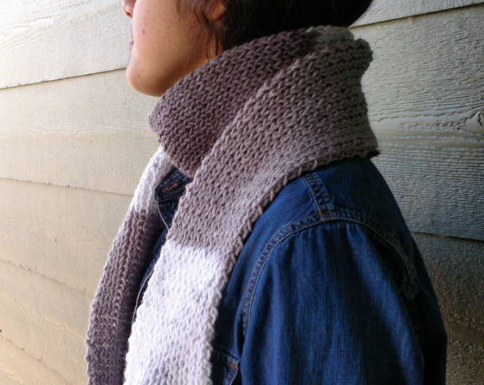 Featured listing image: Scarf white grey scarf with Fringes, long scarf, neck warmers, hand knitted Winter Accessories scarves