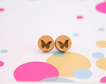 Wooden Butterfly Earrings - Stud Earrings - Butterfly - Lasercut - Wood Earrings.
