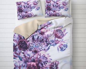 Floral Bedding, Purple Flower Print, Photo Duvet Cover, Purple Duvet Cover, Photo Print, Bed Decoration, Designer Duvet Cover