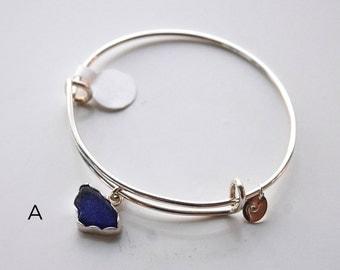 Adjustable Bangle, Bangle, Sterling Silver Bangle, Sea Glass Bangle, Sea Glass Bracelet, Sterling Silver Bracelet, Silver Bracelet