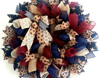 Patriotic Wreath, Wreath, Americana Wreath, 4th of July, Patriotic, Americana, 4th of July Wreath,