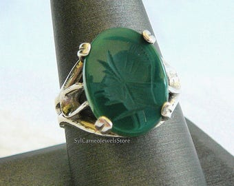 Cameo Ring Roman Warrior Intaglio Carved GREEN Onyx Gemstone Sterling Silver Ring Fine Jewelry