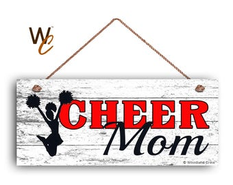 """ON SALE CHEER Mom Sign, Red Cheerleading Sign For Mom, Gift For Her, Distressed Style, 6"""" x 14"""" Sign, Sports Sign, Mom of Cheerleader, Made"""