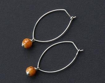 Mars earrings, Mars earrings glass, Mars earrings peach, Mars earrings planet, MINI MARS, hypoallergenic niobium earwires