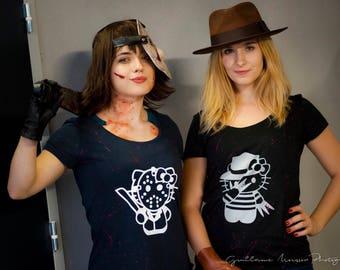 T-shirt women hello kitty slasher Jason voorhees, Freddy krueger geeky kawaii Friday 13th nightmare on elm street Friday the 13th