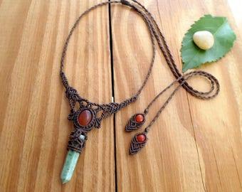 Jade wand macrame necklace, macrame jewelry, carnelian necklace, healing jewelry, micro macrame, hippie necklace, jade jewelry