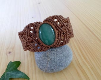 Aventurine macrame bracelet, macrame jewelry, hippie bracelet, macrame stone, gemstone bracelet, bohemian jewelry, tribal bracelet