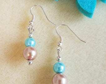 Glass Champagne and Soft Blue Drop Earrings
