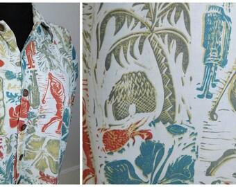 Vtg Mens Hawaiian Tiki Aloha Shirt KAHALA John Severson COLLECTION Vintage Golfer Golfing Print Xtra Large