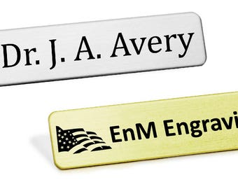 Heavy Gauge Military Style Metal Name Badge, Custom Engraved Uniform Name Badge, Fused Posts Made in USA