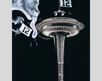 12th Fans - Seahawks, Space Needle, Godzilla Fun Print