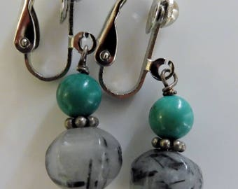 Clip-on earrings-black earrings-blue earrings-gemstone earrings-semi precious earrings-handcrafted-one off-rutile and turquoise