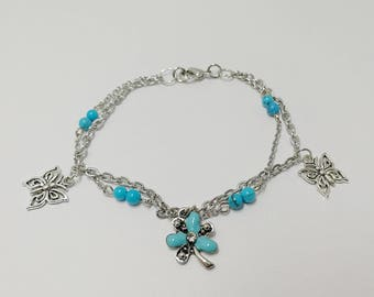 Bracelet double row with gemstone beads and charms ref 867