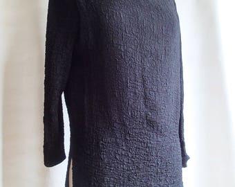 Vintage 80s black tunic; minimalist matelasse shirt; textured womens blouse