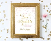 Sparkler Send Off Sign Printable . Let Love Sparkle and Light the Way . Pink and Gold Glitter Wedding Sign . Personalized Download
