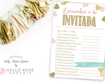 Spanish Find the Guest . Encuentra a la Invitada Baby Shower Game . Pink and Gold . Girl Baby Shower Game . Printable Instant Download