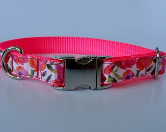Hot Pink Rose Small Dog Collar - Metal Buckle - READY TO SHIP!