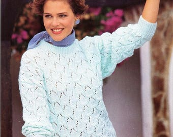 3e3310b92c6b womens sweater knitting pattern pdf ladies lacy round neck jumper 30-40
