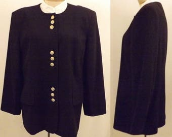 Vintage Oleg Cassini Black Blazer Size 14
