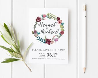 Save Our Date Card, Winter Save The Date, Pretty Wedding Invite, Watercolor Wreath Save Our Date Card, Autumn Wedding Save The Date Card