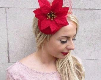 Red Velvet Poinsettia Christmas Flower Fascinator Headband Headpiece Hair 3967