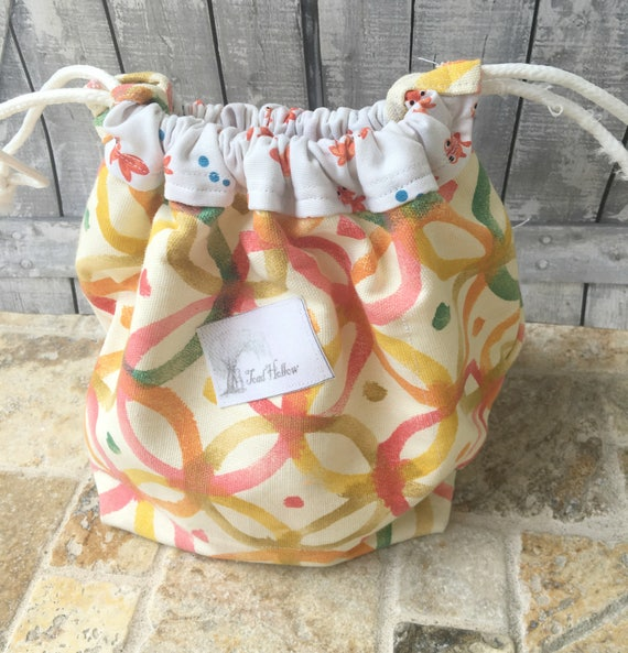 Knitting Project Bag-Colorful Geometric design,boho design Toadstool bag,Toad Hollow Bag,Crochet Project,Sock,yarn keeper,drawstring bag