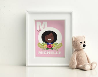 Nursery Wall Art  - Michelle Obama - M is for Michelle