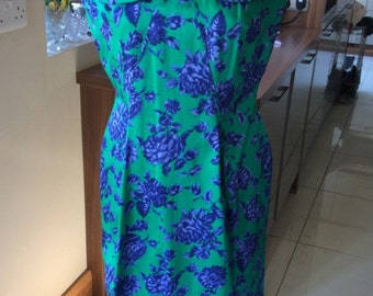 Vintage: 1960s Mint green and purple dress