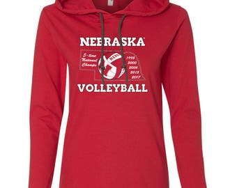 Women's Nebraska Volleyball 5-Time National Champions Long Sleeve Hooded Tee Shirt Hoody With Relaxed Unlined Hood With Contrasting Drawcord