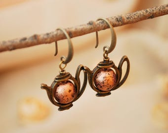 Brown tea earrings, casual jewelry, boho style, bronze tone teapot earrings, tea lovers gift idea, tea party gift, everyday earrings