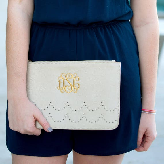 Monogrammed Clutch Creme Handbag Cream Purse Monogrammed Bag Beige Personalized Clutch Purse Bridesmaids Gifts Weddings Highway12Designs