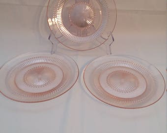 3 Jeannette Glass Pink Anniversary Dinner Plates