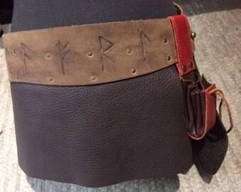 Leather skirt runes belt bagJon Snow kilt Medieval Larp elves Vikings Game of thrones lord of the rings festival Celtic pagan