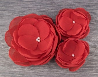 Red Fabric Flower - Red Wedding - Red Hair Flower - Red Bridesmaids - Red Flower Girls - Red Hair Accessory - Red Flower Brooch - Red Bride