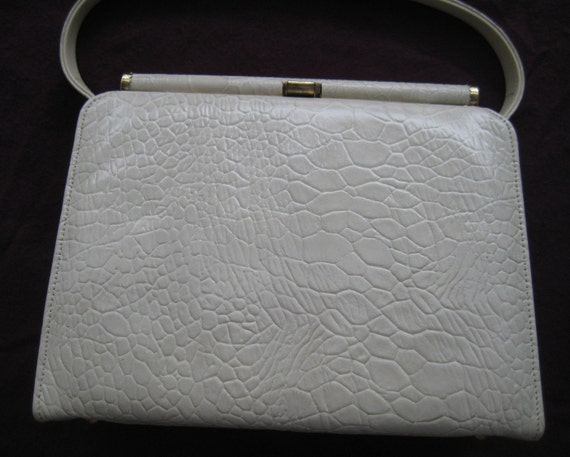 Croc Look White Patent Leather Kelly Style Bag