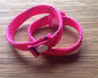 Pink Hockey Bracelet, Wristband / Hockey Skate Lace Bracelet, Wristband / Hockey Anklet / Pink Bracelet by DangleGear Co
