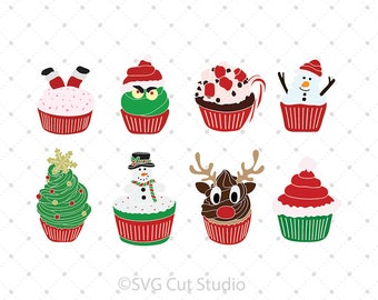Christmas Cupcakes SVG Cut files, Cupcakes SVG, Winter SVG, Rudolph svg, Snowmen svg Cut Files for Cricut and Silhouette, svg files