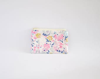 Small Coin Purse, Change Purse, Coin Pouch, Zipper Pouch, Makeup Pouch, Cosmetic Pouch, Card Pouch, Card Holder - Ethereal Floral