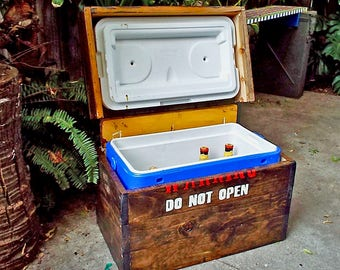 Hidden Wooden Ice Chest Cooler