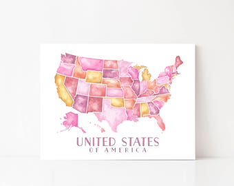 United States Map, United States Art, United States of America, USA Map Print, United States Watercolor, United States Wall Map, Wall Art