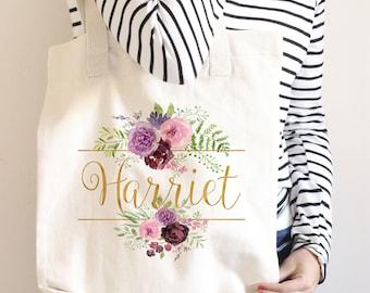 Watercolor Florals Bridesmaid Tote, Spring Wedding, Canvas Bridal Tote, Custom Name Tote, Custom Bridesmaid Tote, Bridal Party Tote Bag